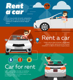Bannières de voiture de location illustration stock