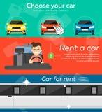 Bannières de voiture de location illustration de vecteur