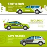 Bannières de voitures d'Eco Les véhicules électriques d'énergie alternative de puissance avec le transport d'eco de vecteur de ba illustration stock