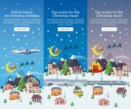 Bannières de voyage de Noël dans l'illustration plate de style Bannières de verticale de vecteur Photographie stock
