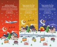 Bannières de voyage de Noël dans l'illustration plate de style Voyageant par l'avion, l'autobus et chemin de fer Photographie stock