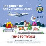 Bannières de voyage de Noël dans le style plat Nature, bâtiments, village et ville dans un style plat Photo libre de droits