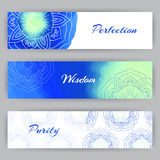 Bannières de Web avec Lotus bleu Photographie stock libre de droits