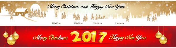 Bannières 2017 de Web de Noël et de nouvelle année Photo stock
