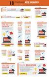 Bannières de Web de taille standard - éducation en ligne Image stock