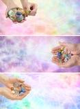 3 bannières de Web de thérapie par les cristaux de x Photos stock