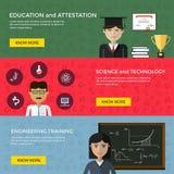 Bannières de Web pour l'éducation et la science Photo stock