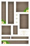 Bannières en bois avec les fleurs tropicales Photos stock