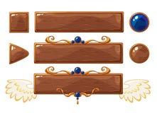 Bannières en bois de titre de vecteur Image libre de droits