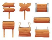 Bannières en bois et diverses enseignes illustration libre de droits
