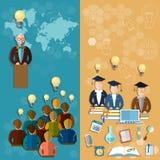 Bannières en ligne de professeur de professeur d'éducation de technologie d'éducation Photos libres de droits