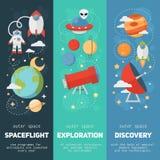 Bannières et cartes de thème de l'espace illustration libre de droits