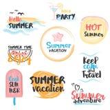 Bannières et labels d'été d'aquarelle Photo stock