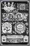 Bannières et labels tirés par la main de tableau noir de vintage Photographie stock
