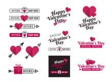 Bannières et rubans pour le jour de valentines social de médias Conception graphique des textes avec l'icône de coeur, le paquet  illustration de vecteur