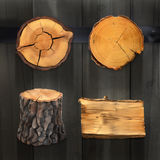 Bannières et signes en bois illustration de vecteur