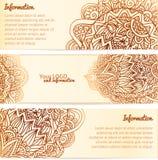 Bannières fleuries de vecteur de vintage d'ornement de henné Photos stock