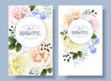 Bannières florales de vintage de vecteur avec des roses de jardin illustration libre de droits