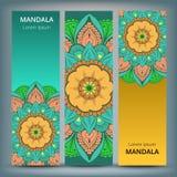 Bannières florales indiennes de médaillon de Paisley Ornement ethnique de mandala Peut être employé pour le textile, carte de voe illustration libre de droits
