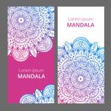 Bannières florales indiennes de médaillon de Paisley Ornement ethnique de mandala Peut être employé pour le textile, carte de voe illustration de vecteur