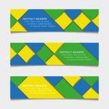 Bannières géométriques abstraites dans des couleurs de drapeau du Brésil Photo libre de droits