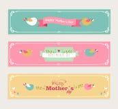 Bannières heureuses de jour de mères de vintage réglées Image stock