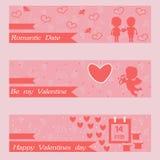 Bannières heureuses de jour et de sarclage de valentines Cartes de voeux Images libres de droits