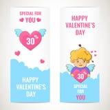 Bannières heureuses de jour de valentines illustration libre de droits