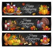 Bannières heureuses de salutation de jour de thanksgiving illustration stock