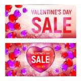 Bannières heureuses de vente de jour du ` s de valentine d'isolement sur le fond blanc Photo libre de droits