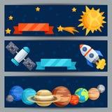 Bannières horizontales avec le système solaire et les planètes illustration libre de droits