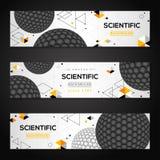 Bannières horizontales avec les particules de carbone abstraites illustration de vecteur