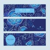 Bannières horizontales bleues de fleurs de nuit de vecteur réglées Images stock