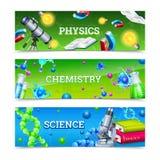 Bannières horizontales d'équipement de laboratoire de la Science illustration stock