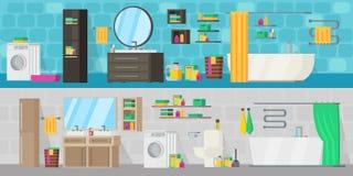 Bannières horizontales d'équipement de salle de bains illustration libre de droits