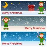 Bannières horizontales d'elfes de Noël Photos stock