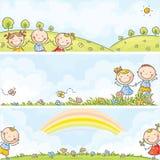 Bannières horizontales d'enfants Photos libres de droits