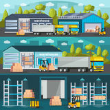 Bannières horizontales d'entrepôt réglées illustration stock