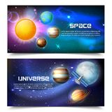Bannières horizontales d'univers de l'espace illustration de vecteur