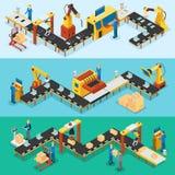 Bannières horizontales d'usine industrielle isométrique