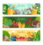Bannières horizontales d'usines de jardin illustration de vecteur