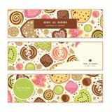 Bannières horizontales de biscuits colorés de vecteur réglées illustration de vecteur