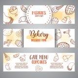 Bannières horizontales de boulangerie avec des pâtisseries Pâtisserie douce, petits gâteaux, affiches de dessert avec le gâteau d Photos stock
