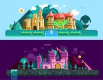 Bannières horizontales de châteaux illustration de vecteur