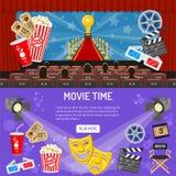 Bannières horizontales de cinéma et de film illustration stock
