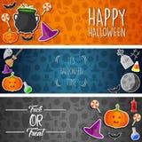 Bannières horizontales de Halloween avec les autocollants plats d'icônes sur le fond différent Photo libre de droits