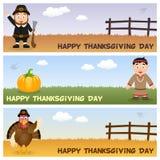 Bannières horizontales de jour de thanksgiving [1] Images libres de droits