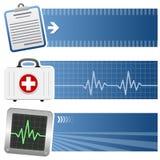 Bannières horizontales de médecine et de soins de santé illustration libre de droits