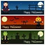 Bannières horizontales de monstres de Halloween [1] Images stock