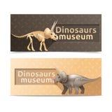 Bannières horizontales de musée de dinosaures Image stock